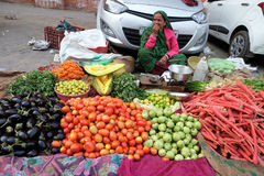 Indian women sell fruit and vegetables by the side of the road in Jaipur Royalty Free Stock Image