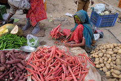 Indian women sell fruit and vegetables by the side of the road in Jaipur Royalty Free Stock Images
