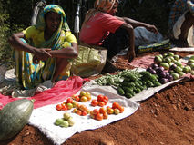 Indian women sell vegetables Royalty Free Stock Photography