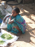 Indian women sell vegetables Stock Photo