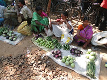 Indian women sell vegetables Stock Photography