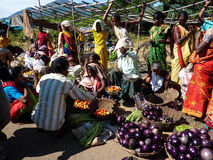 Indian women sell vegetables Royalty Free Stock Image