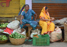 Indian women selling vegetables in a market Royalty Free Stock Photo