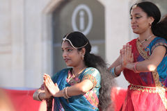 Indian women show traditional dances in Lyon Royalty Free Stock Photo