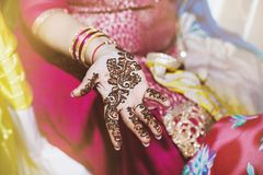 Indian women showing beautiful art henna mehndi design on hand. The close-up shot of Indian women hand with beautiful mehndi painted henna during indian wedding royalty free stock photo