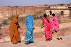Indian women standing at Mehrangarh Fort, Jodhpur, India Royalty Free Stock Image