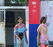 Indian women on street wearing traditional sari Royalty Free Stock Photos