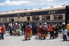 Indian women at the train station in Bolivia Stock Image