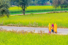 Indian women on a village road. Royalty Free Stock Photos