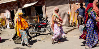 Indian women walking. Royalty Free Stock Photography