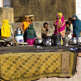 Indian women beside a well. Stock Photo