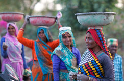 Indian women working on the road Stock Image