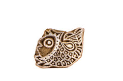 Indian wood carving printing block stamp for textile design Royalty Free Stock Images