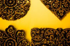 Indian Wood Carvings. Wood Carvings of various patterns and shapes Royalty Free Stock Image