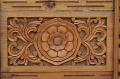 Indian wood ornament of door fragment. Wood ornament of door fragment in India Stock Photo