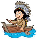 Indian in wooden boat Royalty Free Stock Photos
