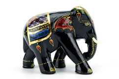 Indian wooden elephants isolated on white background clipping pa Royalty Free Stock Photo