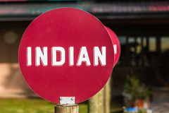 Indian Word Red Disk Sign Royalty Free Stock Images