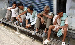 Indian workers waiting for employers Royalty Free Stock Photo