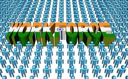 Indian workforce with flag text Stock Photography