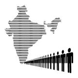 Indian workforce with map Stock Photo
