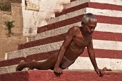 Indian wrestler excercising Stock Photos