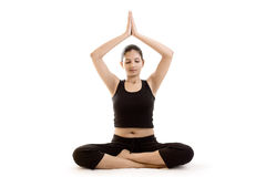 Indian Yoga Girl in black dress Stock Images