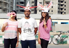 Indian young adults wear theatre masks. During raahgiri open road event on March 27,2016 in Hyderabad,India Royalty Free Stock Photo