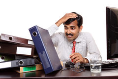 Indian young businessman in stress Royalty Free Stock Image