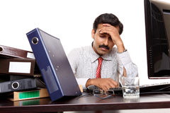 Indian young businessman tension Royalty Free Stock Images