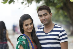 Indian young couple at Marine Drive Mumbai India. Stock Photos