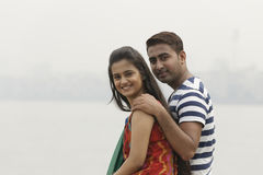 Indian young couple at Marine Drive Mumbai India. Stock Photo