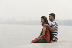 Indian young couple at Marine Drive Mumbai India. Stock Image
