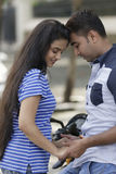Indian young couple at Marine Drive Mumbai India. Royalty Free Stock Image