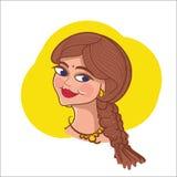 Indian young girl cartoon vector illustration woman logo design cartoon character. Indian young girl cartoon vector illustration woman logo design character lady royalty free illustration