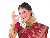 Indian young girl saying excellent Stock Photos