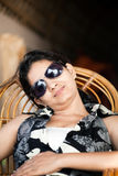 Indian young girl with sunglasses Stock Photos