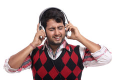 Indian young man with headphone Stock Photography