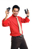 Indian young man talking in mobile Stock Photos