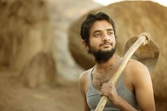 Indian Farmer. Indian Young Rural Farmer with spade Stock Photography