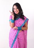 Indian young saying excellent with her hand Royalty Free Stock Photos