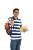 Indian young student carrying books. On white Stock Photo
