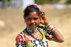 Indian young tribal girl. Young tribal girl at the village in Nagaur district Royalty Free Stock Photo