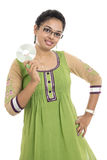 Indian young woman holding storage CD Royalty Free Stock Photos