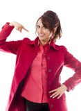 Indian young woman pointing herself Royalty Free Stock Image