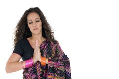 Indian young woman in religion time Stock Photo