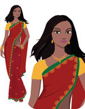Indian young woman (vector). Beautiful indian young woman in colorful sari and salwar kameez -- Highly detailed and no gradients/ mesh Stock Photos