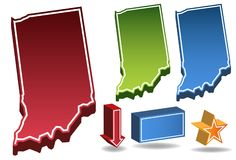 Indiana 3D. Set of 3D images of the State of Indiana with icons Royalty Free Stock Photo