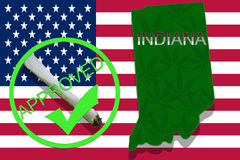 Indiana on cannabis background. Drug policy. Legalization of marijuana on USA flag, Stock Image