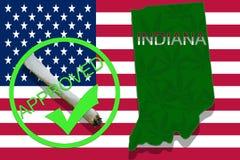 Indiana on cannabis background. Drug policy. Legalization of marijuana on USA flag, Stock Image